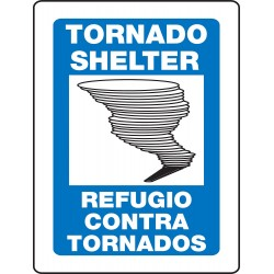 Accuform Signs - SBPSP393 - Accuform Signs 12' X 9' Panel Black, Blue And White 0.055' Plastic Projection 3D Fire And Emergency Sign 'TORNADO SHELTER' With 3/16' Mounting Hole And Round Corner, ( Each )