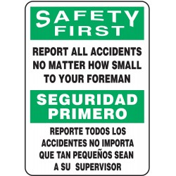 Accuform Signs - SBMGNF910VP - Info Sign Report Accident Bilingual 14x10 Plastic 29 Cfr 1910.145 Accuform Mfg Inc, Ea