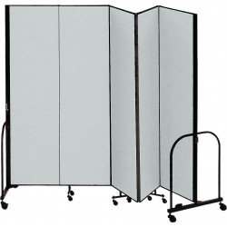 Screenflex - CFSL405 GREY - 9 ft. 5 in. x 4 ft., 5-Panel Portable Room Divider, Gray