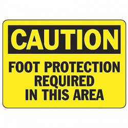 "Accuform Signs - MPPE408VP - Accuform Signs 7"" X 10"" Black And Yellow 0.055"" Plastic PPE Sign ""CAUTION FOOT PROTECTION REQUIRED IN THIS AREA"" With 3/16"" Mounting Hole And Round Corner"
