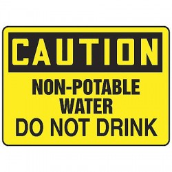 Accuform Signs - MCHL674VP - Caution Sign Non-potable Water 10x14 Plastic Accuform Mfg Inc, Ea