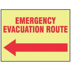 Accuform Signs - MLFE507GF - Evacuation Route Sign, 10 x 14In, R/YEL