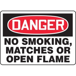 "Accuform Signs - MSMK025VA - Accuform Signs 10"" X 14"" Black, Red And White 0.040"" Aluminum Smoking Control Sign ""DANGER NO SMOKING, MATCHES OR OPEN FLAMES"" With Round Corner"