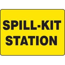 Accuform Signs - MCHL563VS - Accuform Signs 7' X 10' Black And Yellow 4 mils Adhesive Vinyl Chemicals And Hazardous Materials Sign 'SPILL-KIT STATION', ( Each )