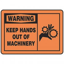 Accuform Signs - MEQM304VS - Warning Sign Keep Hands Out 7x10 Self Adhesive 29 Cfr 1910.145 Accuform Mfg Inc, Ea