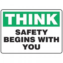Accuform Signs - MGNF950VP - Info Sign Safety Begins With 7x10 Plastic Ansi Z535.2 - 1998 Accuform Mfg Inc, Ea