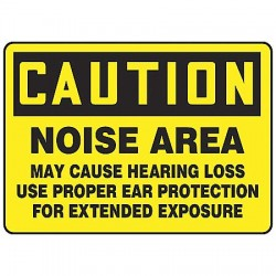 Accuform Signs - MPPE401VP - Caution Sign Noise Area 10x14 Plastic Ansi Z535.2-1998 Accuform Mfg Inc, Ea