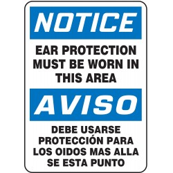 Accuform Signs - SBMPPA820VP - Notice Sign Ear Protection Must Bilingual 14x10 Plastic 29 Cfr 1910.145 Accuform Mfg Inc, Ea