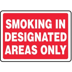 Accuform Signs - MSMK911VS - Info Sign Smoking Designated 10x14 Self Adhesive Accuform Mfg Inc, Ea