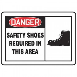 Accuform Signs - LPPE002VSP - Accuform Signs 3 1/2' X 5' Red, Black And White 4 mil Adhesive Vinyl PPE Safety Label 'DANGER SAFETY SHOES REQUIRED IN THIS AREA (With Graphic)' (5 Per Pack), ( Package )