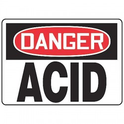 Accuform Signs - MCHL190VS - Danger Sign, 10 x 14In, R and BK/WHT, Acid