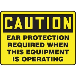 Accuform Signs - MPPA634VS - Personal Protection, Caution, Vinyl, 10 x 14, Not Retroreflective