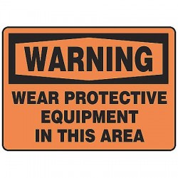 Accuform Signs - MPPE314VA - Warning Sign, 7 x 10In, BK/ORN, AL, ENG, Text