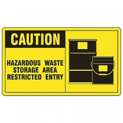 Accuform Signs - MCHL632VS - Caution Sign Hazardous Waste Storage 7x10 Self Adhesive 29 Cfr 1910.145 Accuform Mfg Inc, Ea