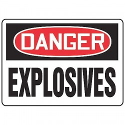 Accuform Signs - MCHG048VP - Danger Sign Explosives 10x14 Plastic Accuform Mfg Inc, Ea