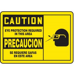 Accuform Signs - SBMPPE414MVA - Caution Sign Eye Protection Required Bilingual 7x10 Aluminum 29 Cfr 1910.145 Accuform Mfg Inc, Ea