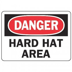 Accuform Signs - MPPA004VA - Accuform Signs 7' X 10' Black, Red And White 0.040' Aluminum PPE Sign 'DANGER HARD HAT AREA' With Round Corner, ( Each )