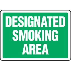 Accuform Signs - MSMK493VA - Smoking Area Sign, 7 x 10In, WHT/GRN, AL