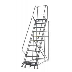 Ballymore / Garlin - WA123214G - Garlin Rolling Ladder 12 Step Knock Down 14 In Deep Top Step Grip Strut Steel Gray, Ea
