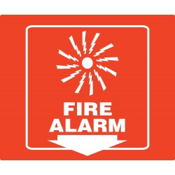 Accuform Signs - PSP730 - Fire Alarm Sign, 8 x 8In, WHT/R, PS, ENG