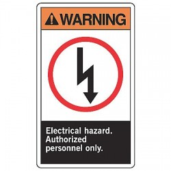 Accuform Signs - MRLC304VA - Warning Sign, 14 x 10In, ORN, BK and R/WHT