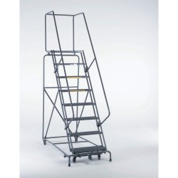 Ballymore / Garlin - 103228P - Garlin Locking Step Rolling Ladder 10 Step 28 In Deep Top Step Knock Down Perforated Steel Gray, Ea