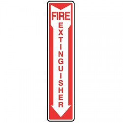 Accuform Signs - MFXG545VA - Accuform Signs 18' X 4' Red And White 0.040' Aluminum Fire Safety Sign 'FIRE EXTINGUISHER (With Down Arrow)' With Round Corner, ( Each )