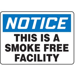 Accuform Signs - MSMK850VS - Notice No Smoking Sign, 7 x 10In, ENG, Text