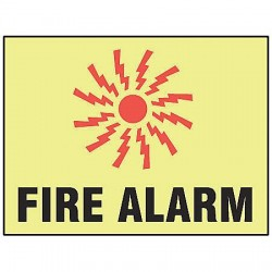 Accuform Signs - MLFX538GP - Fire Alarm Sign, 7 x 10In, R and BK/YEL