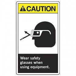 Accuform Signs - LPPE613VSP - Caut Sign Wear Sfty 5x3 1/2 Sa, Pk