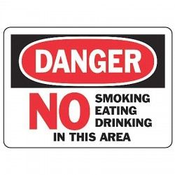 Accuform Signs - MSMK051VP - Danger Sign No Smoking Eating 7x10 Plastic Ansiz535.2-1998 Accuform Mfg Inc, Ea