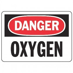 Accuform Signs - MCHL168VS - Accuform Signs 7' X 10' Black, Red And White 4 mils Adhesive Vinyl Chemicals And Hazardous Materials Sign 'DANGER OXYGEN', ( Each )