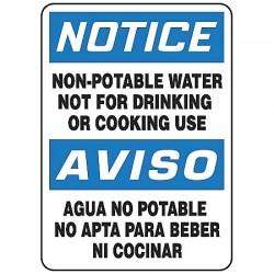 Accuform Signs - SBMCAW805VA - Notice Sign Non-potable Water Bilingual 14x10 Aluminum 29 Cfr 1910.145 Accuform Mfg Inc, Ea