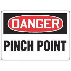 "Accuform Signs - MEQM138VP - Accuform Signs 10"" X 14"" Black, Red And White 0.055"" Plastic Equipment Machinery And Operations Safety Sign ""DANGER PINCH POINT"" With 3/16"" Mounting Hole And Round Corner"