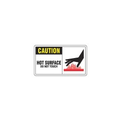 Accuform Signs - MWLD610VS - Caution Sign Hot Surface 7x10 Self Adhesive 29 Cfr 1910.145 Accuform Mfg Inc, Ea