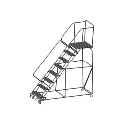 Ballymore / Garlin - WA-SW-083228G - Garlin Slope Ladder Rolling Ladder 8 Step Knock Down 28 In Deep Top Step Grip Strut Steel Gray, Ea