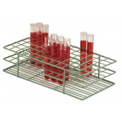 Bel-Art - F18772-0000 - Rack Test Tube Epoxy Coated 22-25mm Tubes 3 3/4 In Hx4 1/4 In Wx9 9/16 In L 40 Tubes Wire Green Scienceware Poxygrid Bel-art S1, Ea