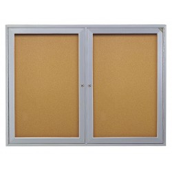 Ghent - PA23660K - Ghent 2-Door Enclosed Bulletin Board - 36 Height x 60 Width - Cork Surface - Shatter Resistant, Self-healing - Satin Aluminum Frame - 1 Each