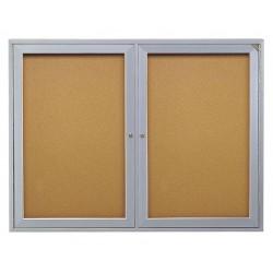 Ghent - PA23660K - Ghent 2-Door Enclosed Bulletin Board - 36 Height x 60 Width - Cork Surface - Shatter Resistant, Self-healing - Satin Aluminum Frame - 1 Each