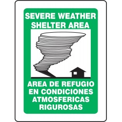 Accuform Signs - SBPSP392 - Evacuation, Assembly or Shelter, No Header, Plastic, 12 x 14, With Mounting Holes, V-Shaped
