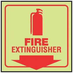 Accuform Signs - PSP459 - Accuform Signs 8' X 8' Panel Red And Glow 0.060' Lumi-Glow Plastic Projection 90D Sign 'FIRE EXTINGUISHER (With Down Arrow)' With 3/16' Corner Mounting Hole And Round Corner, ( Each )