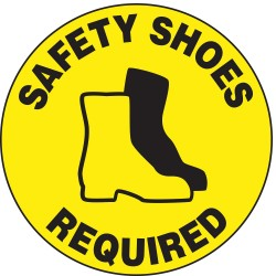 "Accuform Signs - MFS205 - Accuform Signs 17"" Diameter Black And Yellow 4 mils Adhesive Vinyl Slip-Gard Personal Protection Floor Sign ""SAFETY SHOES REQUIRED (With Graphic)"""