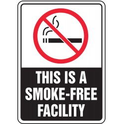 Accuform Signs - MSMK533VA - No Smoking Sign, 10 x 7In, R and WHT/BK, AL