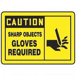Accuform Signs - MPPE468VS - Caution Sign, 10 x 14In, BK/YEL, Self-ADH