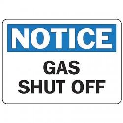 Accuform Signs - MFXG804VA - Notice Sign Gas Shutoff 10x14 Aluminum 29 Cfr 1910.145 Accuform Mfg Inc, Ea