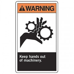 Accuform Signs - MRQM300VS - Warning Sign Keep Hands Out 10x7 Self Adhesive Ansi Z535.4 - 1998 Accuform Mfg Inc, Ea
