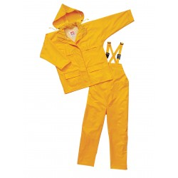 Viking - 2900Y-L - Men's Yellow 150D Rip-Stop Polyester 3-Piece Rainsuit with Hood, Size: L, Fits Chest Size: 42 to 44
