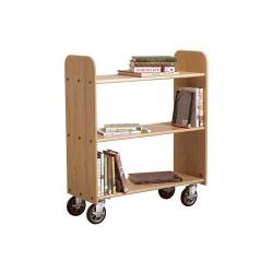 Diversified Woodcrafts - BT112 - Wood Book Truck with 3 Flat Oak Shelves, Rich Honey Oak