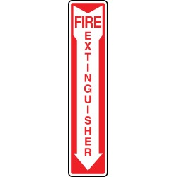 "Accuform Signs - MFXG553GF - Accuform Signs 12"" X 4"" Red And Glow 10 mils Lumi-Glow Flex Fire And Emergency Sign ""FIRE EXTINGUISHER (With Down Arrow)"""