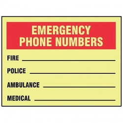 Accuform Signs - MLFE509GF - Emergency Sign, 14 x 10In, BK and R/YEL